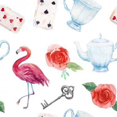 Watercolor wonderland seamless pattern. Hand drawn vintage wallpaper with flamingo, playing cards, old silver key, tea cup and teapot, white and red roses. Vector fairy tale background stock vector