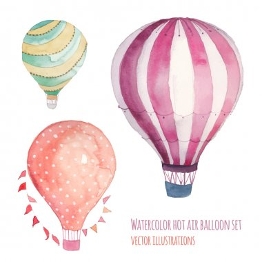 Watercolor hot air balloon set. Hand drawn vintage air balloons with flags garlands, polka dot pattern and retro design. Vector illustrations isolated on white background stock vector