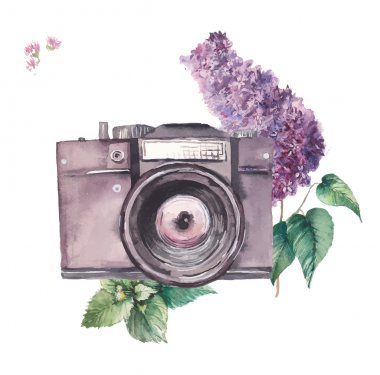 Watercolor photo camera with lilac