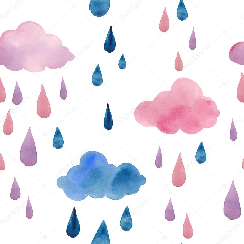 Watercolor clouds and rain drops — Stock Vector © DinaL ...