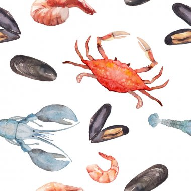 Watercolor seafood seamless pattern