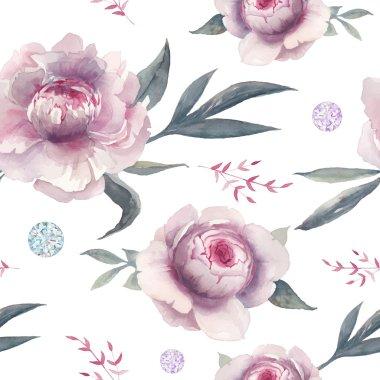 Watercolor peony, diamond and herbs pattern