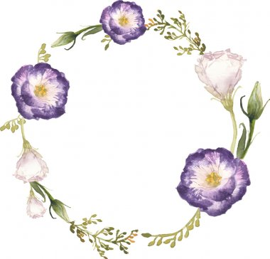 Watercolor lisianthus wreath. Hand drawn floral vintage frame with flowers, leaves, herbs. Vector greeting design object stock vector