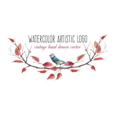 Watercolor branches and bird logo