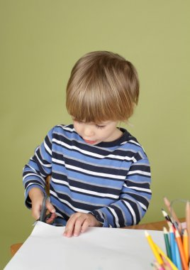 Kids Arts and Crafts Activity Child Learning to Cut with Scissor