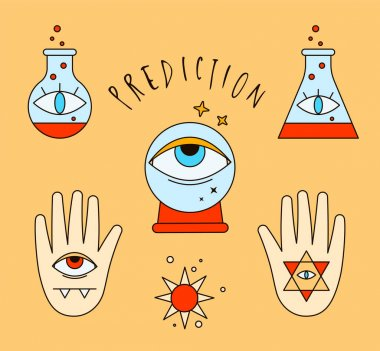 Halloween illustration. Fortune telling, poison, potion, evil eye, crystal ball, fortuneteller, witch, hand, magic, love spell, occultism, prediction. Sticker pack for magic icon