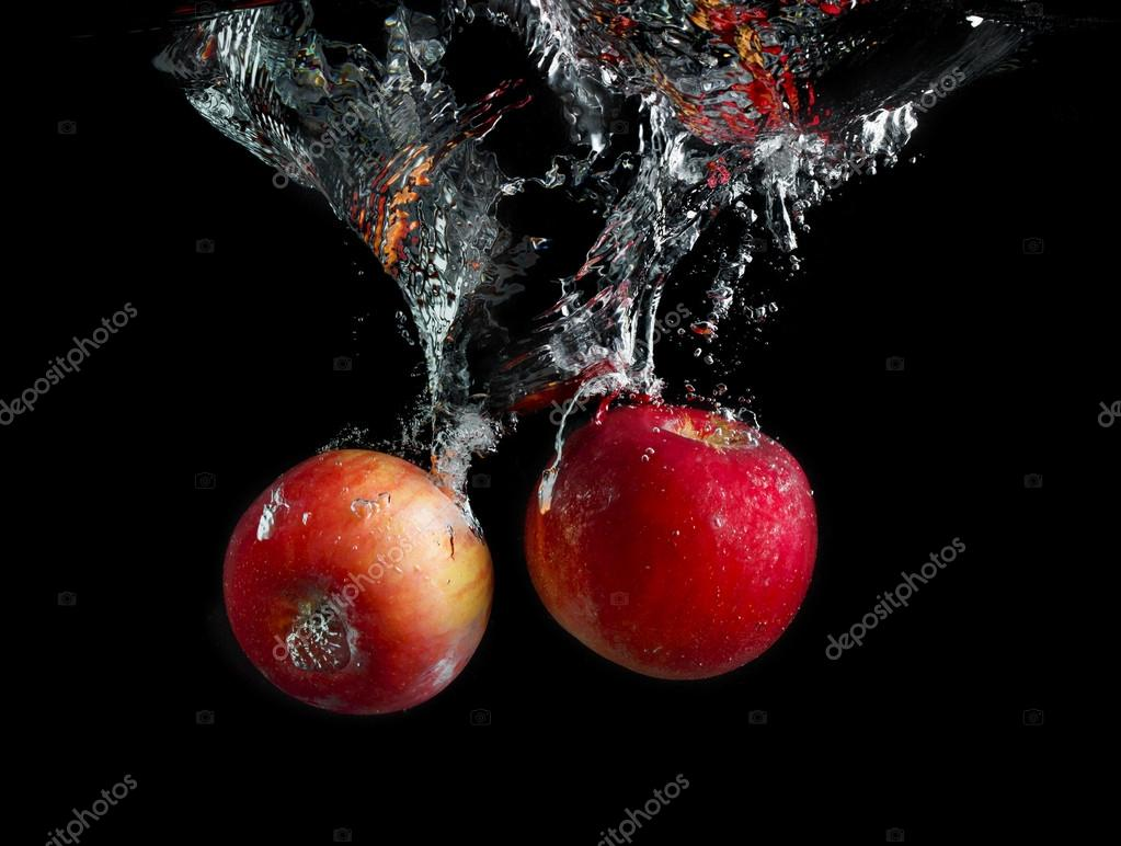 Apples in water