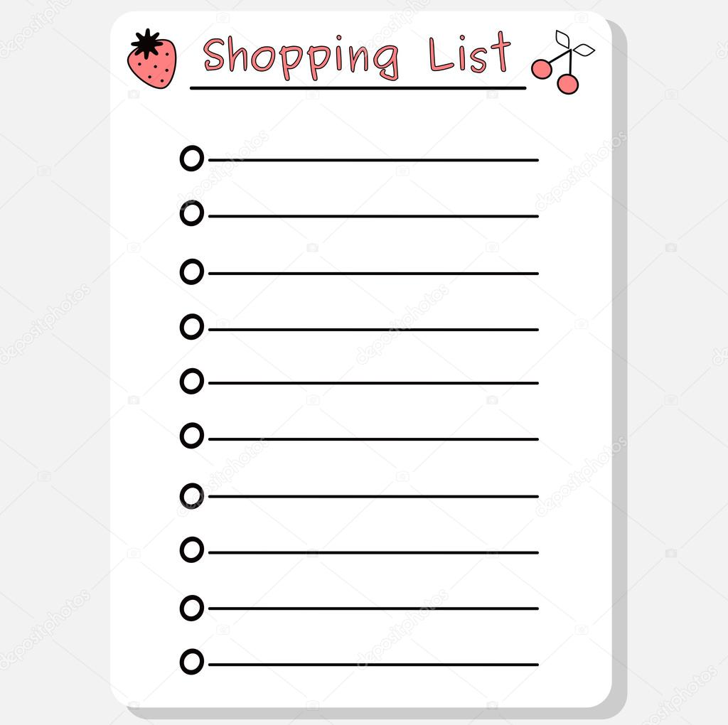cute black white pink vector printable shopping list with strawberry