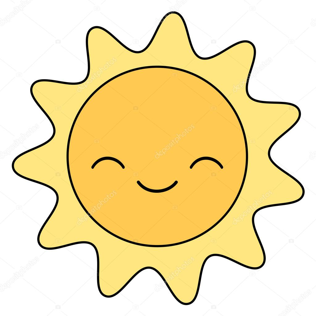 Cute Cartoon Sun Smiling Isolated On White Background Vector Illustration Vector Image By C Alicev1978 Vector Stock 107453732