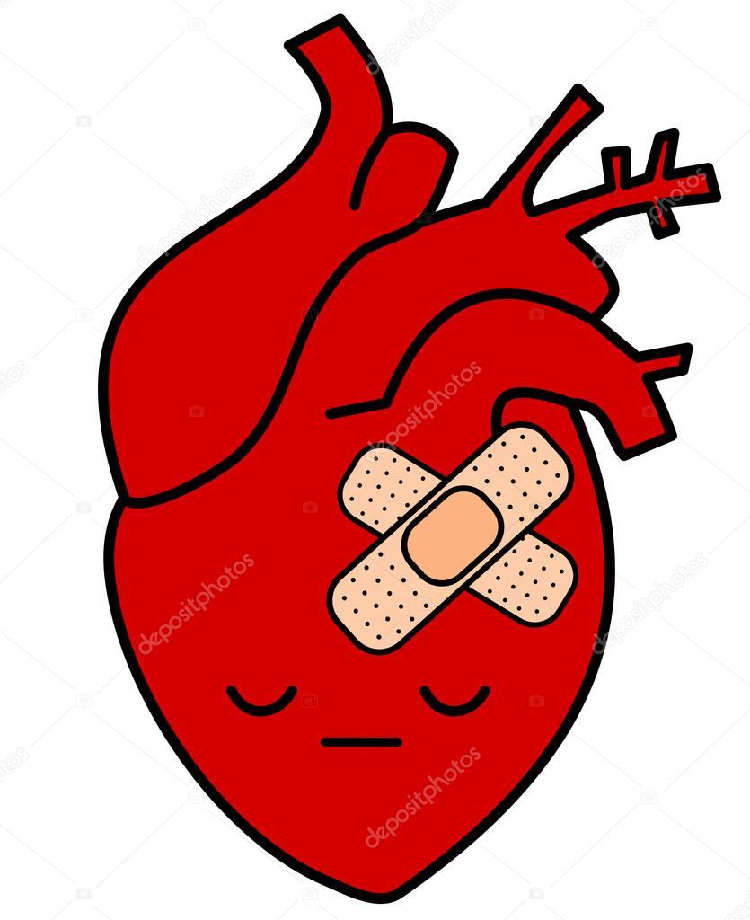 corazón humano triste de dibujos animados lindo con la ilustración ...