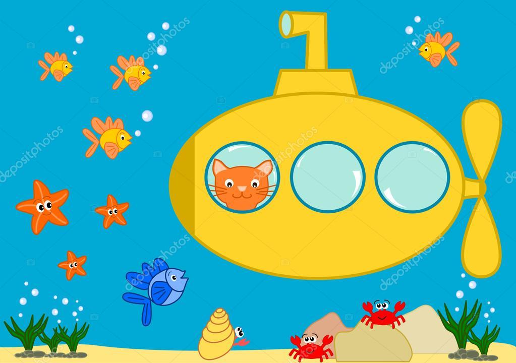 Картинка кот и подводная лодка