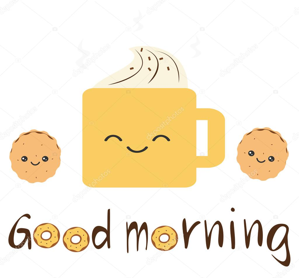 Cute Vector Good Morning Quote With Cartoon Cookies, Coffee With Whipped  Cream And Donuts U2014