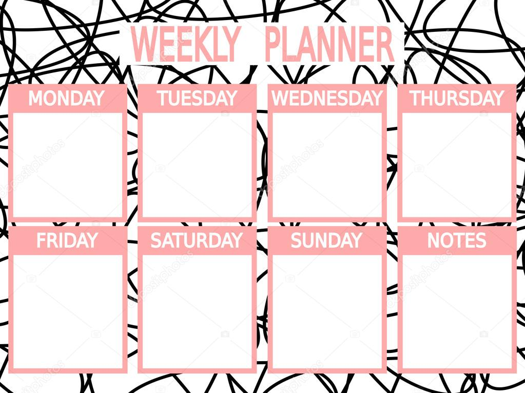 photo relating to Cute Weekly Planner Printable named Lovable black red vector printable weekly planner Inventory