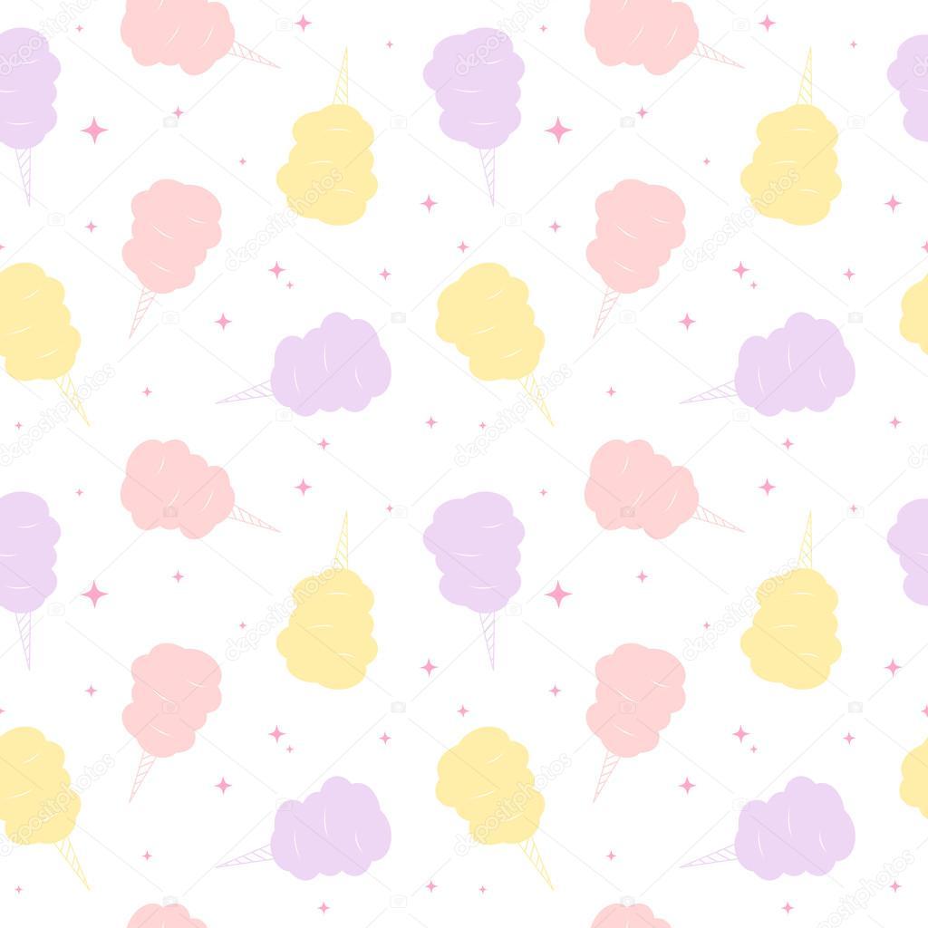 かわいいカラフルな漫画甘い綿菓子シームレスなベクトル パターン背景