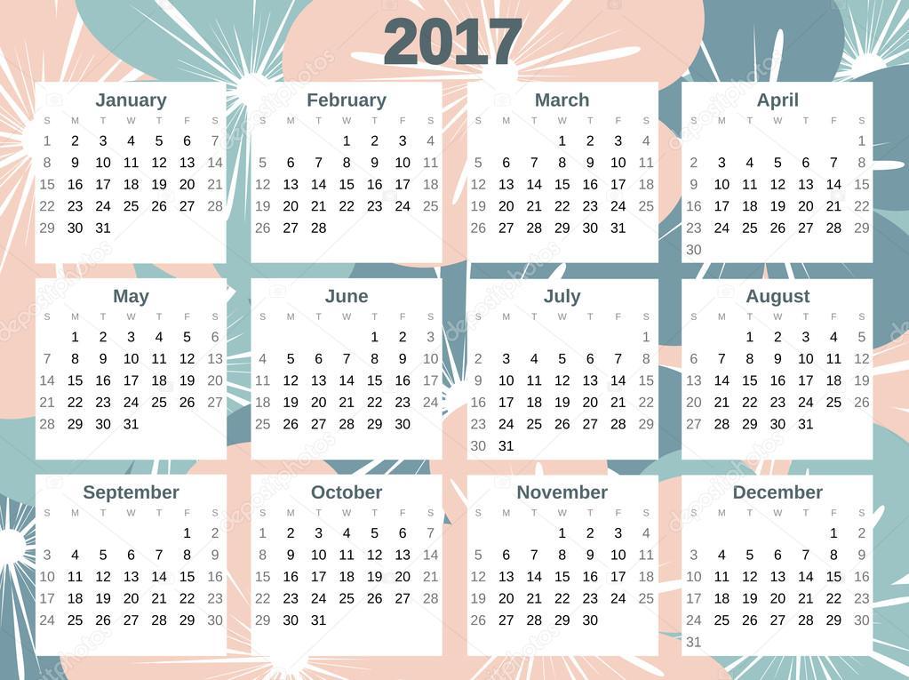 Calendrier de 2017 vecteur coloré mignon avec des fleurs — Image vectorielle ...