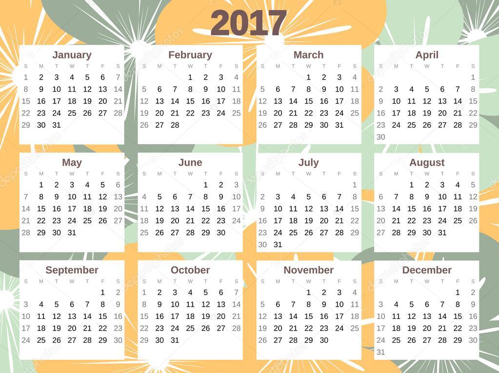 Cute Calendar Illustration : Cute colorful calendar vector with flowers — stock