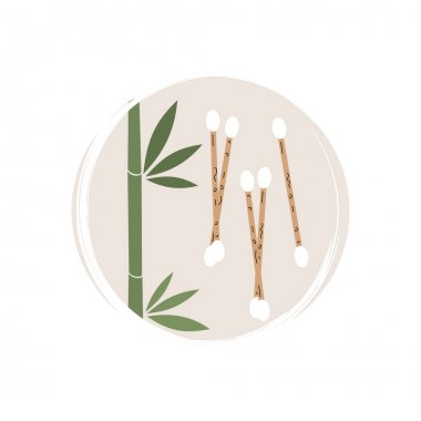 Cute logo or icon vector with ecological cotton buds, illustration on circle with brush texture, for social media story and highlights icon