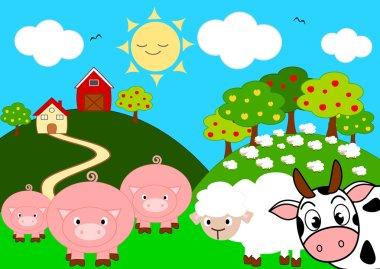 animal farm funny cartoon vector illustration