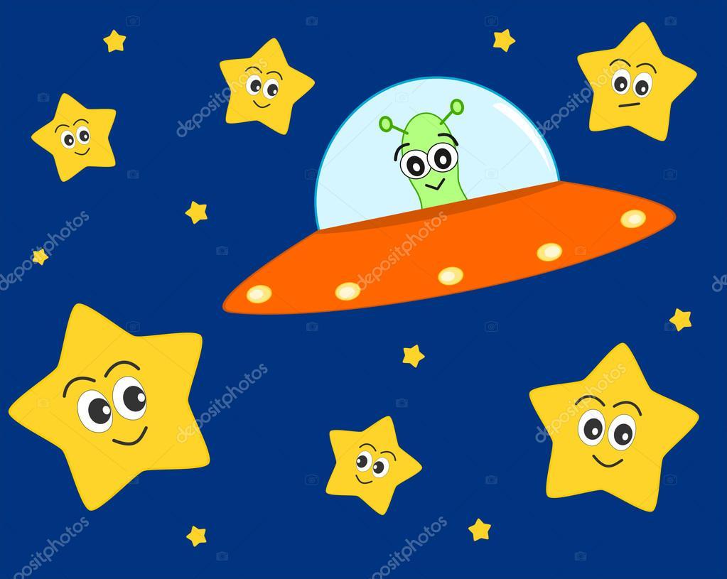 Ufo alien dibujos animados en el espacio con dulces - Dibujos infantiles del espacio ...