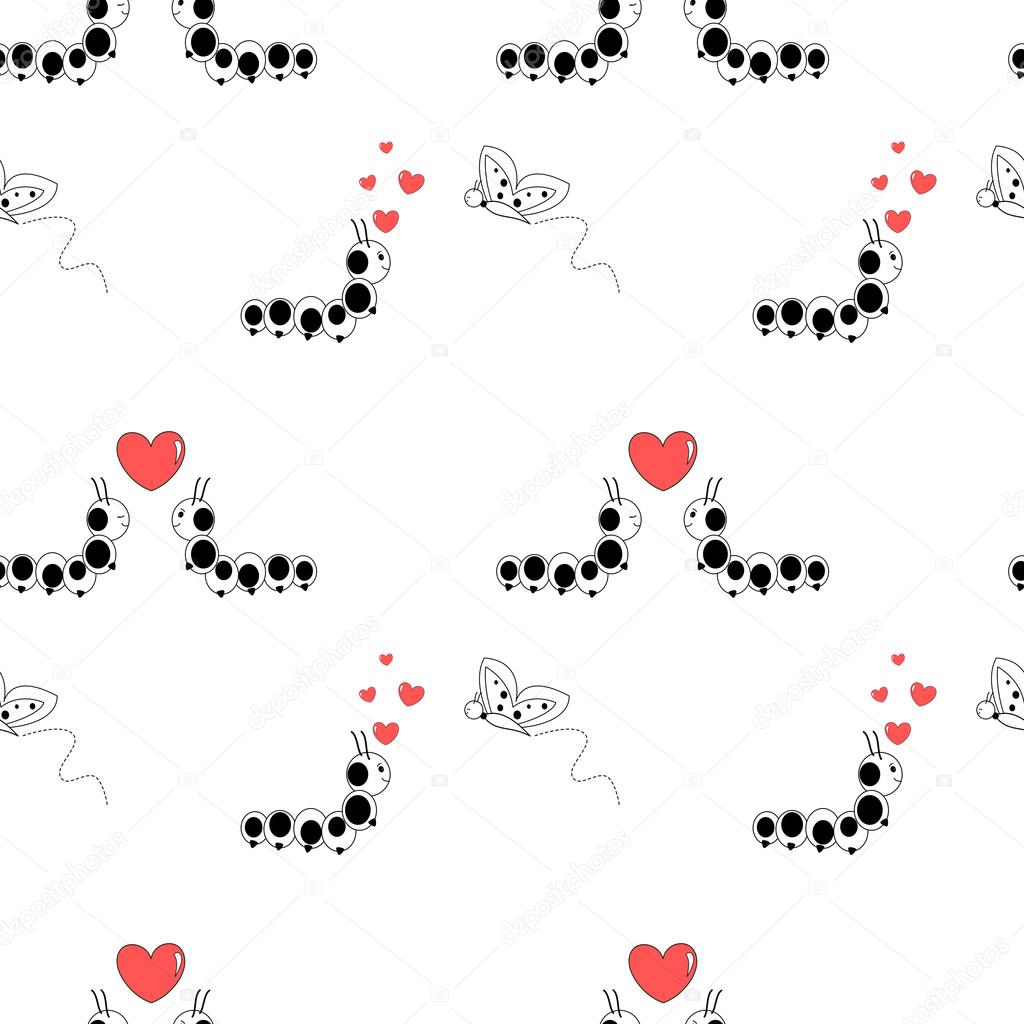 Cartoon Caterpillar Love Cycle Cute Romantic Seamless Vector Pattern