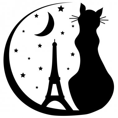cat with Eiffel tower silhouette black and white vector logo illustration