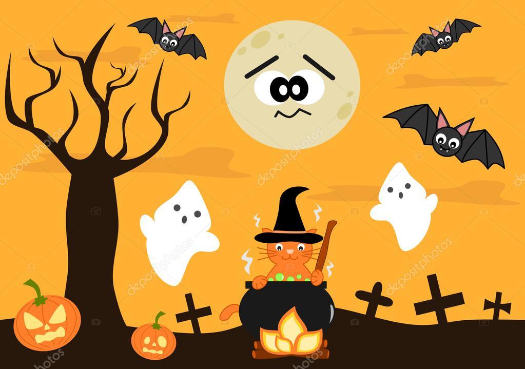 Halloween Per Bambini.Cartoni Animati Di Vettore Di Halloween Per Bambini Vettoriali