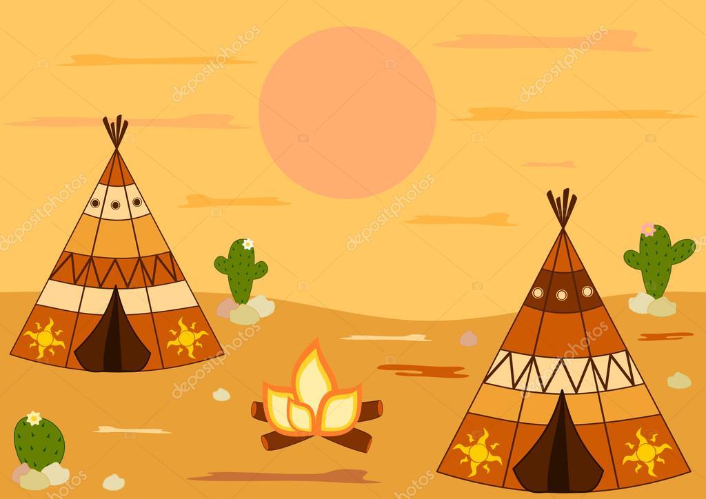 Indian american native teepee tent cartoon vector background illustration u2014 Stock Vector #83667396 & Indian american native teepee tent cartoon vector background ...