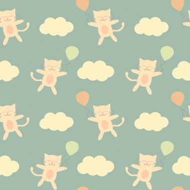 cute cartoon cat flying in the sky with balloon seamless vector pattern background illustration