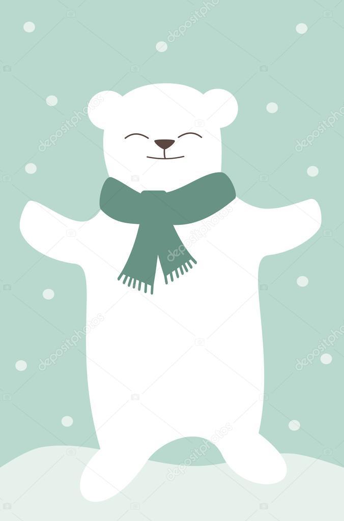 Cartone animato orso bianco polare con illustrazione vettoriale