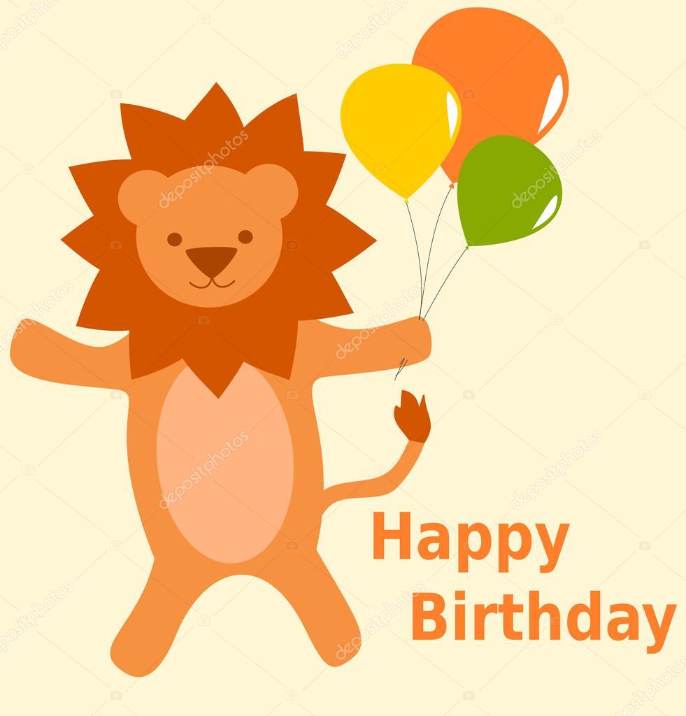 alles Gute zum Geburtstagskarte mit niedlichen Cartoon Löwe mit