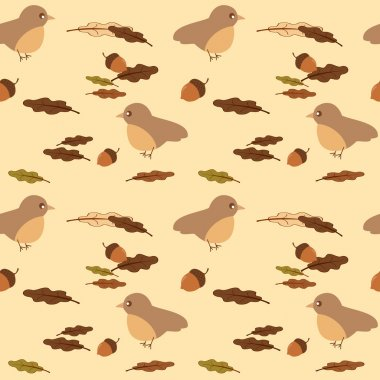 cute bird and leaves and acorns seamless vector pattern background illustration