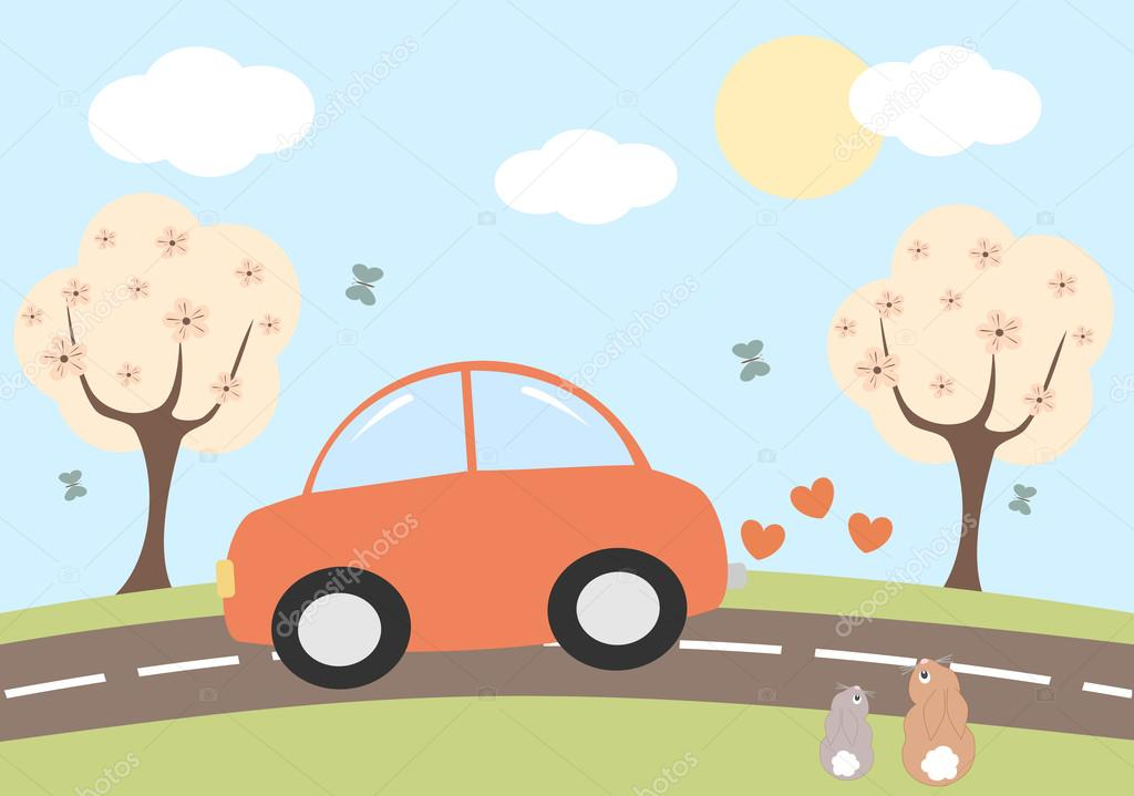 Lovely Cartoon Red Car Driving On Spring Background Cute Vector Illustration Vector Image By C Alicev1978 Vector Stock 93105624