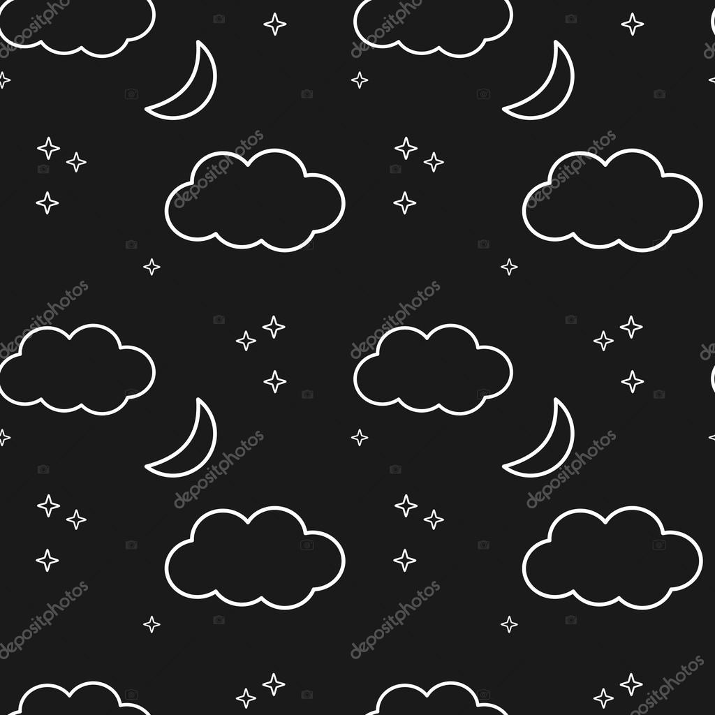 black and white night sky with stars clouds and moon seamless vector pattern background illustration
