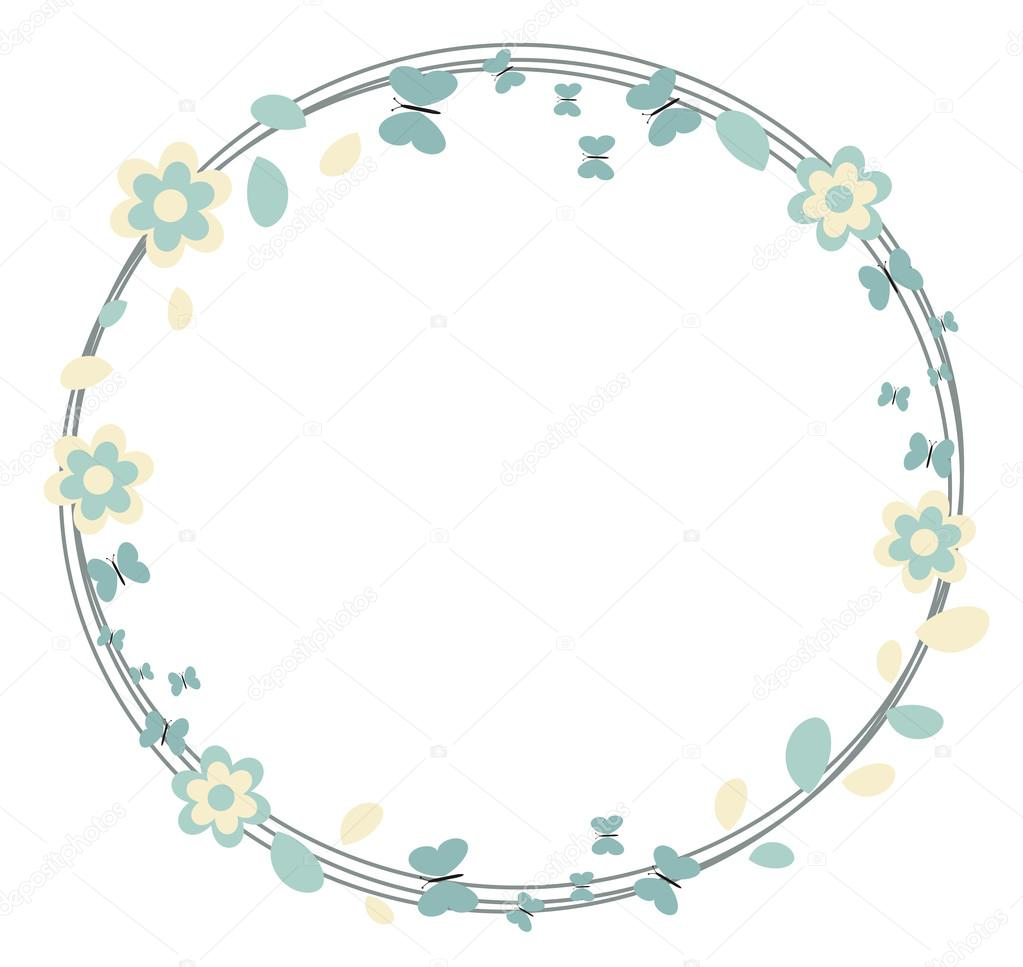 summer and spring vector frame background wreath with leaves flowers and butterflies for seasonal greetings, decorations, birthday greeting cards