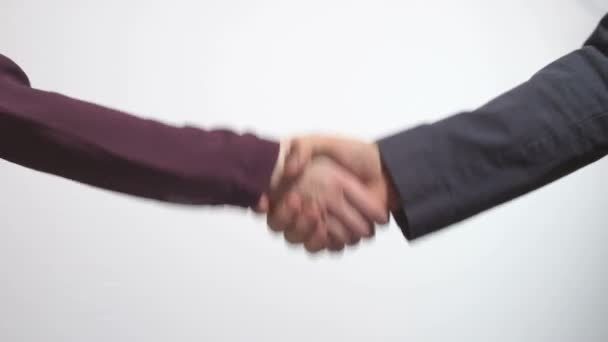Hand shake business man and woman