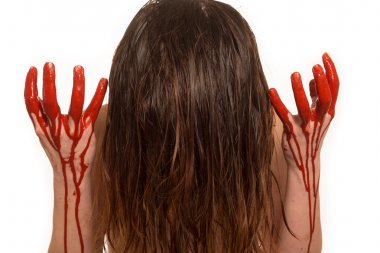 Lady with blood pouring down her hands