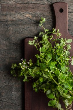 Oregano on the kitchen board on the old dark table vertical