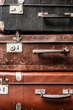 Old vintage suitcases background