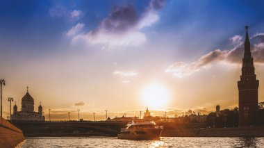 Sunset on the Moscow river panorama