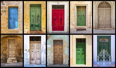 Collage of colorful antique maltese doors