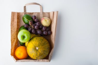 Fruit mix inside a paper bag