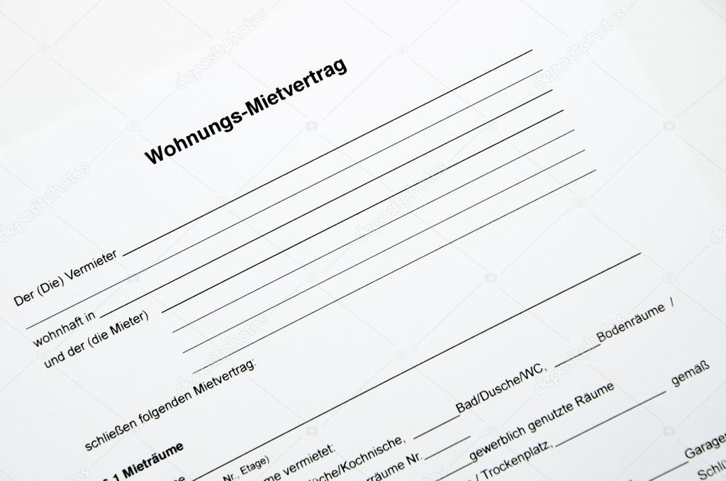 German Contract for Apartment (Mietvertrag) — Stock Photo ...