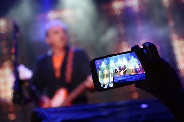 video of the concert on a smartphone