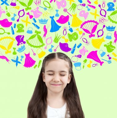 Child kid on background of texture of girl's things