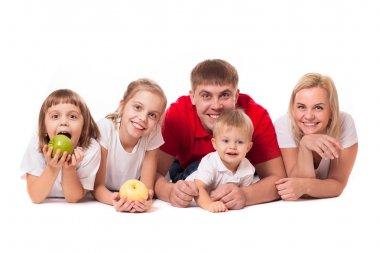 Happy family with apples