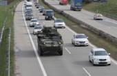 Brno, Česká republika-březen 30, 2015:Dragoon Ride - nás armádní konvoj