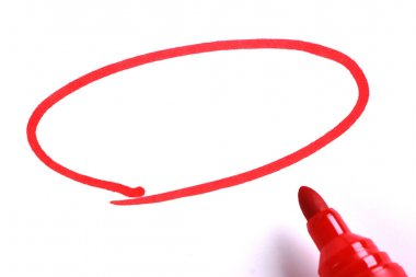 Red Marker with Blank Drawing Circle