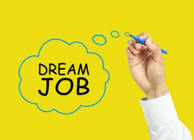 Businessman hand drawing dream job concept