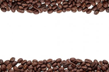 Coffee beans stripe isolated on white background