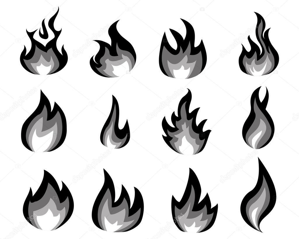 Flamme De Feu Dessin Noir Et Blanc